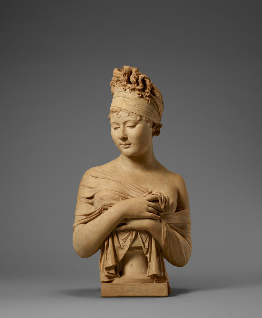 Bust of Juliette Récamier (1777 - 1849); Joseph Chinard (French, 1756 - 1813); about 1801–1802; Terracotta; 63.2 × 32.4 × 24.1 cm (24 7/8 × 12 3/4 × 9 1/2 in.); 88.SC.42; Rights Statement: No Copyright - United States