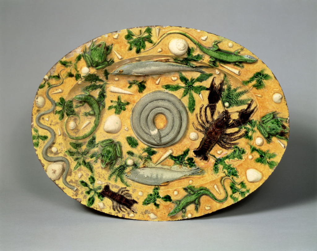 Oval Basin; Attributed to Bernard Palissy (French, about 1510 - 1590); Saintes, France; about 1550; Lead-glazed earthenware; 47.9 × 36.8 cm (18 7/8 × 14 1/2 in.); 88.DE.63; The J. Paul Getty Museum, Los Angeles; Rights Statement: No Copyright - United States