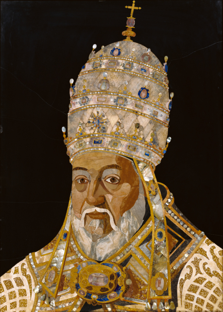 Portrait of Pope Clement VIII (Ippolito Aldobrandini); Designed by Jacopo Ligozzi (Italian, 1547 - 1627), Produced in the Galleria de'Lavori in pietre dure (Italian, founded 1588), Executed by Tadda (Romolo di Francesco Ferrucci) (Italian, 1544 - 1621); Florence, Tuscany, Italy; 1600–1601; Marble, lapis lazuli, mother-of-pearl, limestone, and calcite (some covering painted paper or fabric cartouches) on and surrounded by a silicate black stone; 97 × 68 cm (38 3/16 × 26 3/4 in.); 92.SE.67; The J. Paul Getty Museum, Los Angeles; Rights Statement: No Copyright - United States