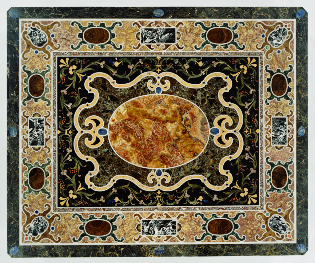 Pietre dure Table; Unknown; tabletop 1580–1600; base 1825; Pietre dure and marble commesso (mosaic) top including breccia di Tivoli (or Quintilina), giallo antico, nero antico, breccia rossa, breccia cenerina, breccia verde, broccatello, bianco e nero antico, serpentine, alabaster fiorito and alabaster tartaruga, lapis lazuli, coral, rock and yellow and black jasper on a carved and gilt wood base; 136.5 × 113 cm (53 3/4 × 44 1/2 in.); 92.DA.70; The J. Paul Getty Museum, Los Angeles; Rights Statement: No Copyright - United States
