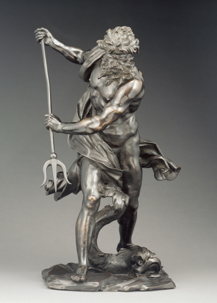 Neptune with Dolphin; After Gian Lorenzo Bernini (Italian, 1598 - 1680); probably 17th century (after 1623); Bronze; 55.9 cm (22 in.); 94.SB.45; The J. Paul Getty Museum, Los Angeles; Rights Statement: No Copyright - United States