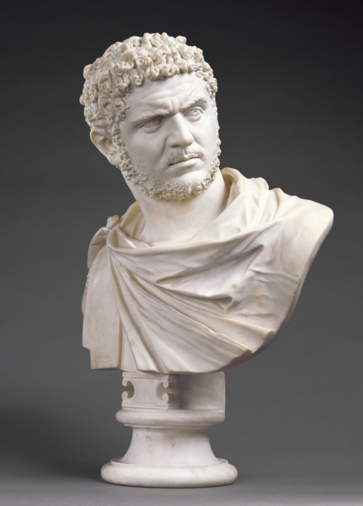Bust of Emperor Caracalla; Bartolomeo Cavaceppi (Italian, 1716/1717 - 1799); Rome, Italy; about 1750–1770; Marble; 71 cm, 53.978 kg (27 15/16 in., 119 lb.); 94.SA.46; The J. Paul Getty Museum, Los Angeles; Rights Statement: No Copyright - United States