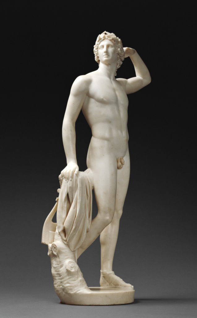 Apollo Crowning Himself; Antonio Canova (Italian, 1757 - 1822); Italy; 1781–1782; Marble; 84.7 × 41.9 × 26.4 cm, 30.391 kg (33 3/8 × 16 1/2 × 10 3/8 in., 67 lb.); 95.SA.71; The J. Paul Getty Museum, Los Angeles; Rights Statement: No Copyright - United States