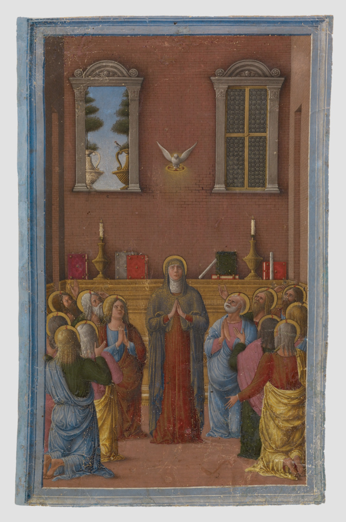 Pentecost; Girolamo da Cremona (Italian, active about 1450 - 1485); Mantua (possibly), Italy; about 1460–1470; Tempera colors and gold paint on parchment; Leaf: 20.1 × 12.9 cm (7 15/16 × 5 1/16 in.); Ms. 55 (94.MS.13), recto; The J. Paul Getty Museum, Los Angeles, Ms. 55, recto; Rights Statement: No Copyright - United States