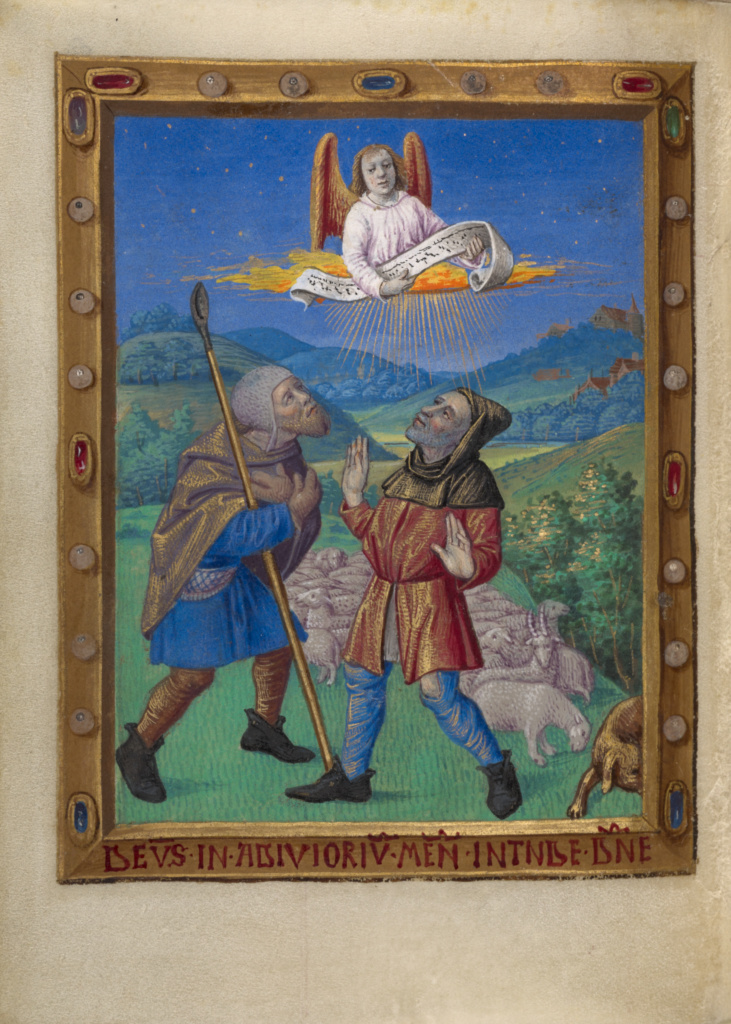 The Annunciation to the Shepherds; Georges Trubert (French, active Provence, France 1469 - 1508); about 1480–1490; Tempera colors, gold leaf, gold and silver paint, and ink on parchment; Leaf: 11.4 × 8.6 cm (4 1/2 × 3 3/8 in.); Ms. 48 (93.ML.6), fol. 54v; Rights Statement: No Copyright - United States
