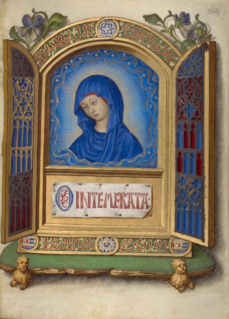 Portable Altarpiece with the Weeping Madonna; Georges Trubert (French, active Provence, France 1469 - 1508); Provence, France; about 1480 - 1490; Tempera colors, gold leaf, gold and silver paint, and ink on parchment; Leaf: 11.4 × 8.6 cm (4 1/2 × 3 3/8 in.); Ms. 48 (93.ML.6), fol. 159; The J. Paul Getty Museum, Los Angeles, Ms. 48, fol. 159; Rights Statement: No Copyright - United States