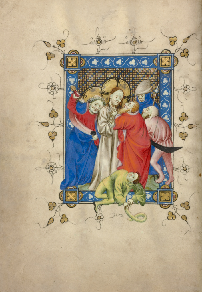The Betrayal of Christ; Masters of Dirc van Delf (Dutch, active about 1400 - about 1410); about 1405–1410; Tempera colors, gold leaf, and ink on parchment; Leaf: 16.5 × 11.7 cm (6 1/2 × 4 5/8 in.); Ms. 40 (90.ML.139), fol. 13v; Rights Statement: No Copyright - United States