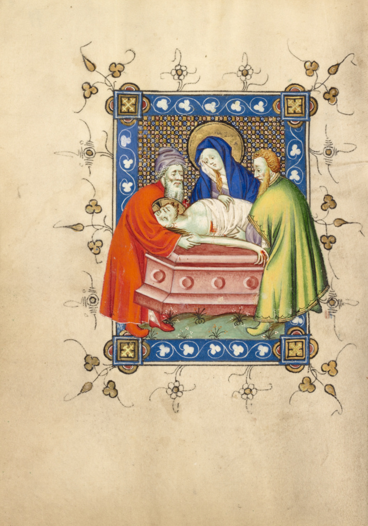 The Entombment; Masters of Dirc van Delf (Dutch, active about 1400 - about 1410); about 1405 - 1410; Tempera colors, gold leaf, and ink on parchment; Leaf: 16.5 × 11.7 cm (6 1/2 × 4 5/8 in.); Ms. 40 (90.ML.139), fol. 79v; Rights Statement: No Copyright - United States