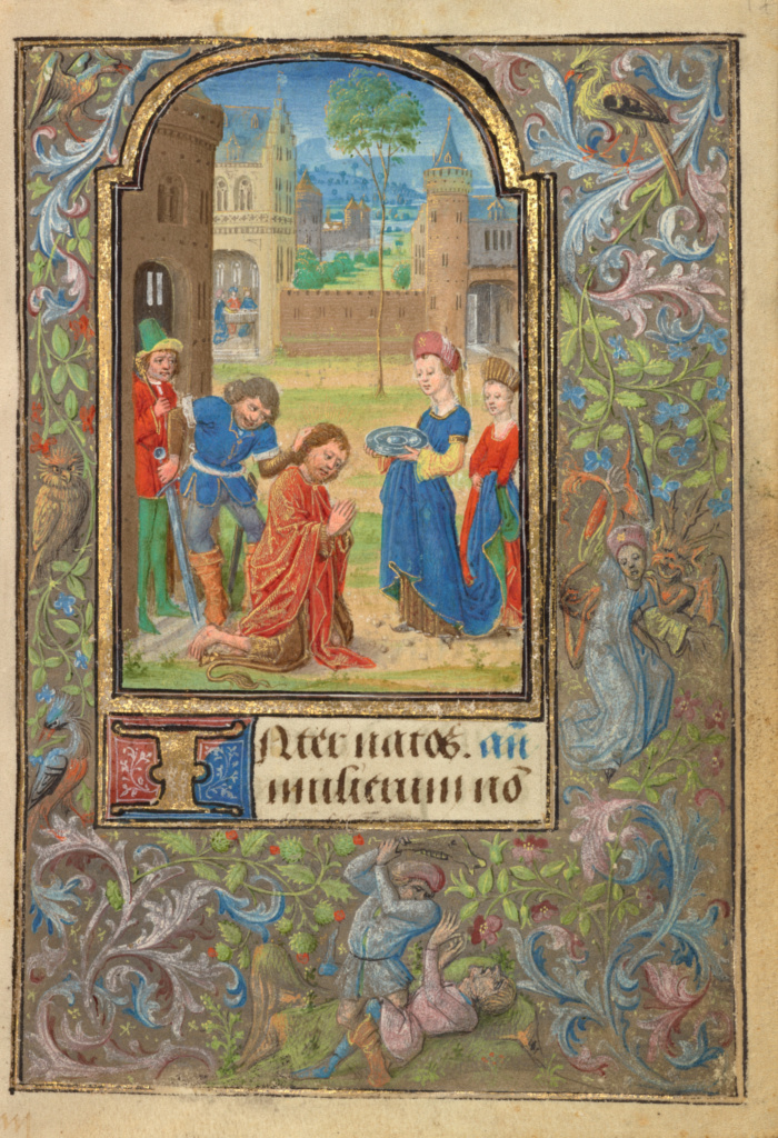 The Beheading of Saint John the Baptist; Lieven van Lathem (Flemish, about 1430 - 1493); Ghent (written), Belgium; 1469; Tempera colors, gold leaf, gold paint, silver paint, and ink; Leaf: 12.4 × 9.2 cm (4 7/8 × 3 5/8 in.); Ms. 37 (89.ML.35), fol. 17; The J. Paul Getty Museum, Los Angeles, Ms. 37, fol. 17; Rights Statement: No Copyright - United States