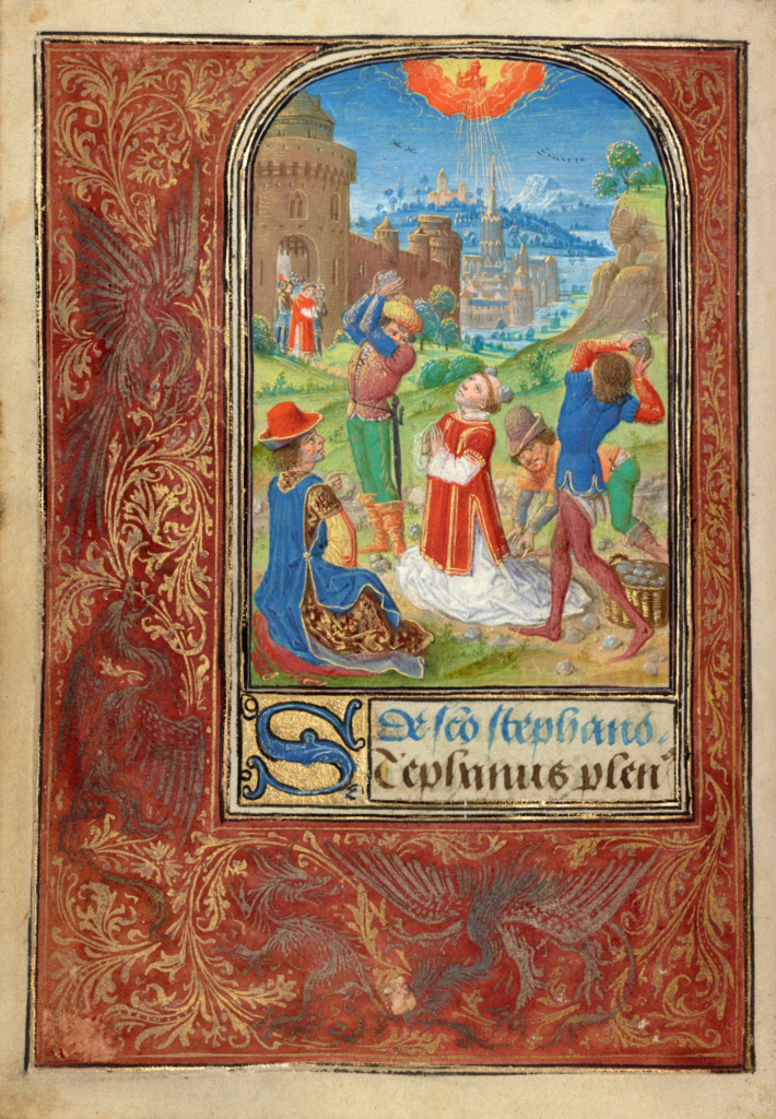 The Stoning of Saint Stephen; Lieven van Lathem (Flemish, about 1430 - 1493); 1469; Tempera colors, gold leaf, gold paint, silver paint, and ink on parchment; Leaf: 12.4 × 9.2 cm (4 7/8 × 3 5/8 in.); Ms. 37 (89.ML.35), fol. 24v; Rights Statement: No Copyright - United States