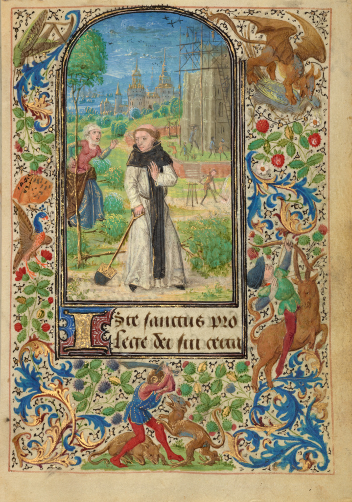 Saint Fiacre and Houpdée; Lieven van Lathem (Flemish, about 1430 - 1493); 1469; Tempera colors, gold leaf, gold paint, silver paint, and ink on parchment; Leaf: 12.4 × 9.2 cm (4 7/8 × 3 5/8 in.); Ms. 37 (89.ML.35), fol. 38; Rights Statement: No Copyright - United States