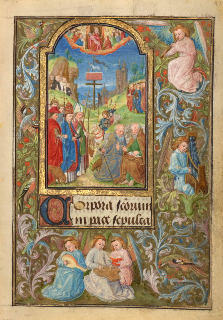 All Saints; Lieven van Lathem (Flemish, about 1430 - 1493); Ghent (written), Belgium; 1469; Tempera colors, gold leaf, gold paint, silver paint, and ink on parchment; Leaf: 12.4 × 9.2 cm (4 7/8 × 3 5/8 in.); Ms. 37 (89.ML.35), fol. 43; The J. Paul Getty Museum, Los Angeles, Ms. 37, fol. 43; Rights Statement: No Copyright - United States