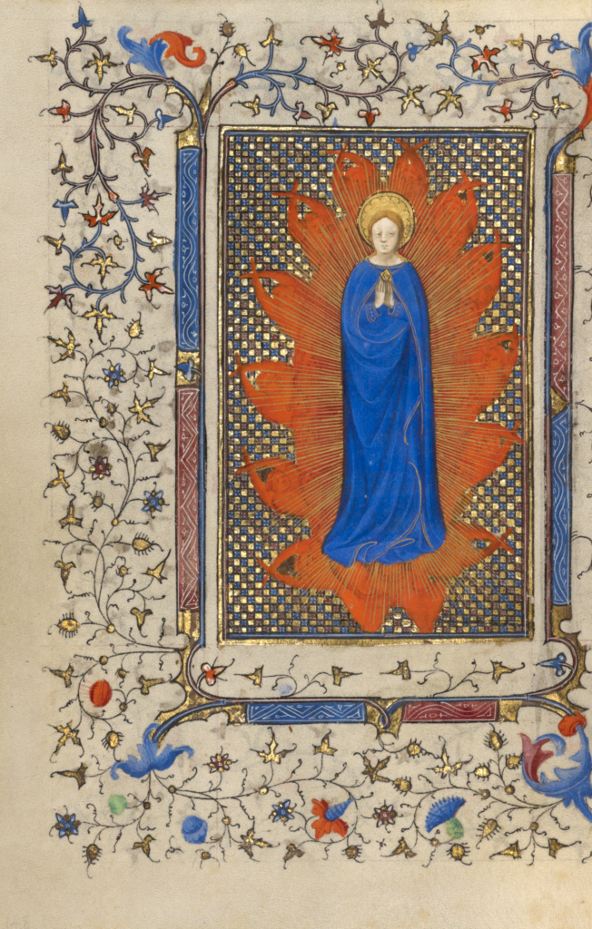The Assumption of the Virgin; Unknown; about 1410; Tempera colors, gold leaf, gold paint, and ink on parchment; Leaf: 17.9 × 13.3 cm (7 1/16 × 5 1/4 in.); Ms. 36 (89.ML.3), fol. 65v; Rights Statement: No Copyright - United States
