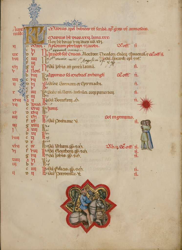 A Man Hawking; Zodiacal Sign of Gemini; Master of the Brussels Initials (Italian, active about 1389 - 1410); Bologna, Emilia-Romagna, Italy; between about 1389 and 1400; Tempera colors, gold leaf, gold paint, and ink on parchment; Leaf: 33 × 24 cm (13 × 9 7/16 in.); Ms. 34 (88.MG.71), fol. 3; The J. Paul Getty Museum, Los Angeles, Ms. 34, fol. 3; Rights Statement: No Copyright - United States