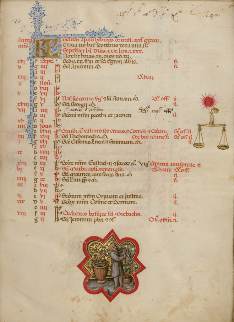 A Man Harvesting Grapes; Zodiacal Sign of Libra; Master of the Brussels Initials (Italian, active about 1389 - 1410); Bologna, Emilia-Romagna, Italy; between about 1389 and 1400; Tempera colors, gold leaf, gold paint, and ink; Leaf: 33 × 24 cm (13 × 9 7/16 in.); Ms. 34 (88.MG.71), fol. 5; The J. Paul Getty Museum, Los Angeles, Ms. 34, fol. 5; Rights Statement: No Copyright - United States