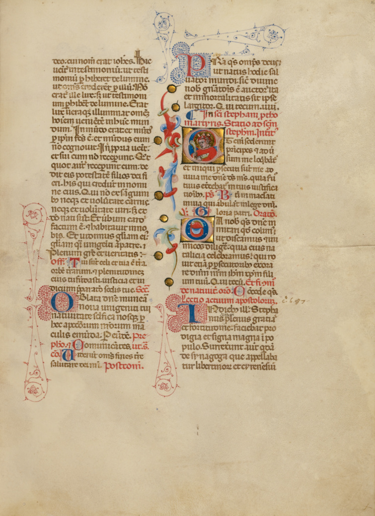 Initial E: Saint Stephen; Master of the Brussels Initials (Italian, active about 1389 - 1410); Bologna, Emilia-Romagna, Italy; between about 1389 and 1400; Tempera colors, gold leaf, gold paint, and ink on parchment; Leaf: 33 × 24 cm (13 × 9 7/16 in.); Ms. 34 (88.MG.71), fol. 16; The J. Paul Getty Museum, Los Angeles, Ms. 34, fol. 16; Rights Statement: No Copyright - United States