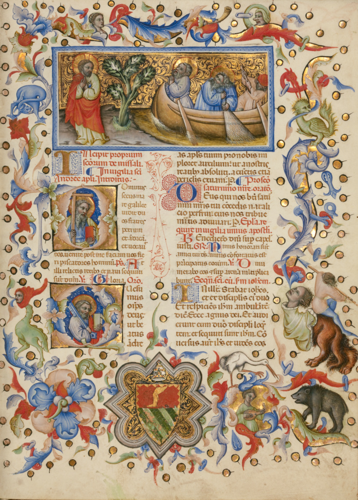 The Calling of Saints Peter and Andrew; Initial D: Saint Andrew; Initial Q: Saint Peter; Master of the Brussels Initials (Italian, active about 1389 - 1410); Bologna, Emilia-Romagna, Italy; between about 1389 and 1400; Tempera colors, gold leaf, gold paint, and ink; Leaf: 33 × 24 cm (13 × 9 7/16 in.); Ms. 34 (88.MG.71), fol. 172a; The J. Paul Getty Museum, Los Angeles, Ms. 34, fol. 172a; Rights Statement: No Copyright - United States