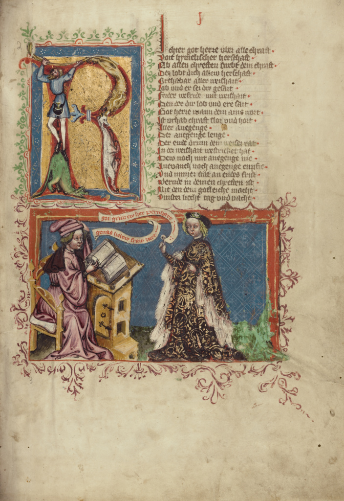 A Scribe and a Woman; Unknown, Rudolf von Ems (Austrian, about 1200 - 1254); Regensburg, Bavaria, Germany; about 1400–1410; Tempera colors, gold, silver paint, and ink on parchment; Leaf: 33.5 × 23.5 cm (13 3/16 × 9 1/4 in.); Ms. 33 (88.MP.70), fol. 3; The J. Paul Getty Museum, Los Angeles, Ms. 33, fol. 3; Rights Statement: No Copyright - United States