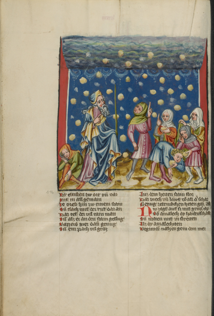 The Israelites Collecting Manna from Heaven; Unknown, Rudolf von Ems (Austrian, about 1200 - 1254); about 1400 - 1410; Tempera colors, gold, silver paint, and ink on parchment; Leaf: 33.5 × 23.5 cm (13 3/16 × 9 1/4 in.); Ms. 33 (88.MP.70), fol. 81v; Rights Statement: No Copyright - United States