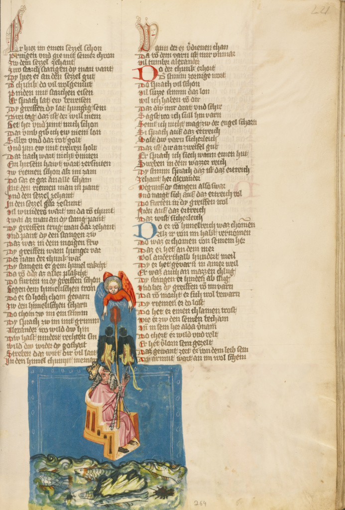 Alexander the Great in the Air; Unknown, Jansen Enikel; Regensburg, Bavaria, Germany; about 1400 - 1410; Tempera colors, gold, silver paint, and ink on parchment; Leaf: 33.5 × 23.5 cm (13 3/16 × 9 1/4 in.); Ms. 33 (88.MP.70), fol. 221; The J. Paul Getty Museum, Los Angeles, Ms. 33, fol. 221; Rights Statement: No Copyright - United States