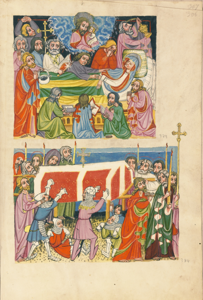 The Death of the Virgin; The Punishment of the Mockers; Unknown, Brother Philipp; Regensburg, Bavaria, Germany; about 1400–1410; Tempera colors, gold, silver paint, and ink; Leaf: 33.5 × 23.5 cm (13 3/16 × 9 1/4 in.); Ms. 33 (88.MP.70), fol. 306; The J. Paul Getty Museum, Los Angeles, Ms. 33, fol. 306; Rights Statement: No Copyright - United States