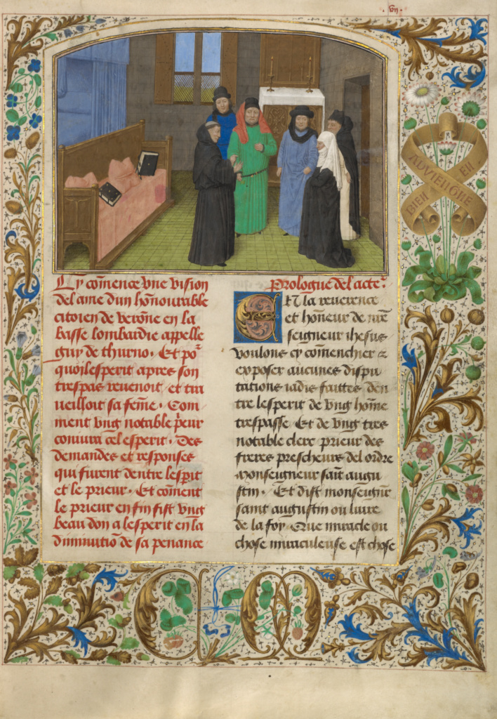 A Priest and Guy's Widow Conversing with the Soul of Guy de Thurno; Simon Marmion (Flemish, active 1450 - 1489), David Aubert (Flemish, active 1453 - 1479); Ghent, Belgium; 1475; Tempera colors, gold, and ink on parchment bound by Trautz-Bauzonnet between pasteboard covered with modern; Leaf: 36.4 × 25.7 cm (14 5/16 × 10 1/8 in.); Ms. 31 (87.MN.152), fol. 7; The J. Paul Getty Museum, Los Angeles, Ms. 31, fol. 7; Rights Statement: No Copyright - United States