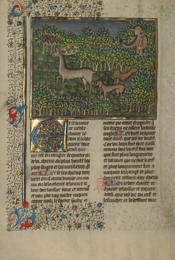 Livre de la Chasse; Unknown, Gaston Phébus (French, 1331 - 1391); Brittany, France; about 1430–1440; Tempera colors, gold paint, silver paint, and gold leaf on parchment bound between pasteboard covered with red morocco; Leaf: 26.4 × 18.4 cm (10 3/8 × 7 1/4 in.); Ms. 27 (87.MR.34); The J. Paul Getty Museum, Los Angeles, Ms. 27; Rights Statement: No Copyright - United States