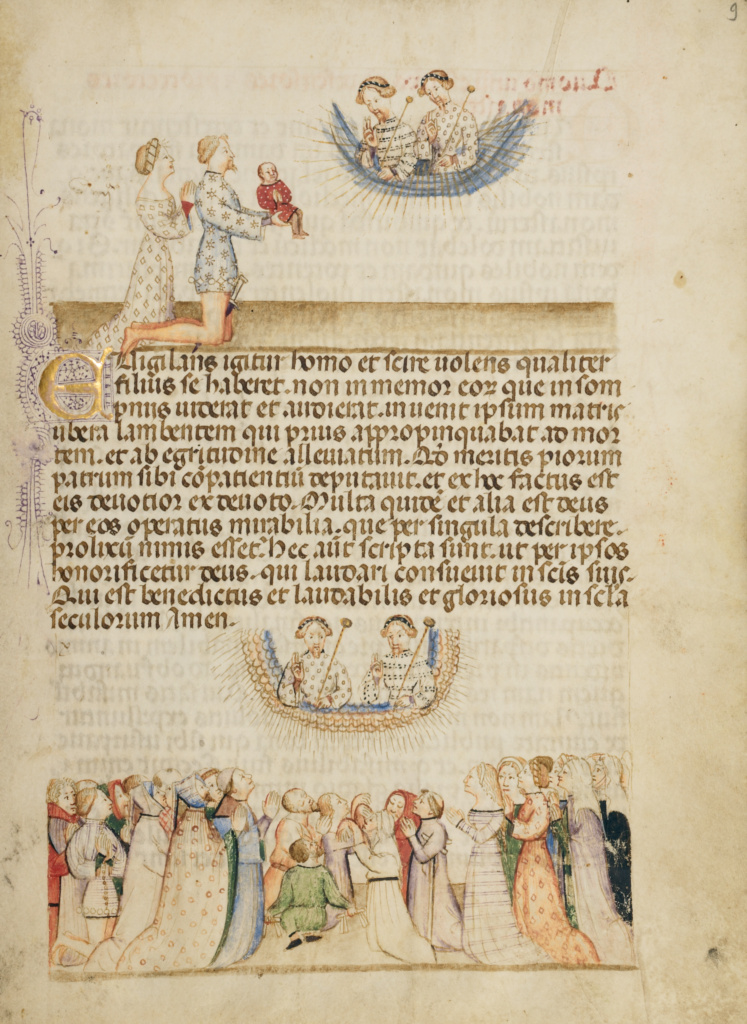 Leone Otasso and His Wife Presenting Their Sick Son to Saints Aimo and Vermondo; A Crowd of Lay Worshippers Giving Thanks; Attributed to Anovelo da Imbonate (Italian (Lombard), active about 1400); Milan, Lombardia, Italy; about 1400; Tempera colors, gold leaf, and ink; Leaf: 25.6 × 18.4 cm (10 1/16 × 7 1/4 in.); Ms. 26 (87.MN.33), fol. 9; The J. Paul Getty Museum, Los Angeles, Ms. 26, fol. 9; Rights Statement: No Copyright - United States