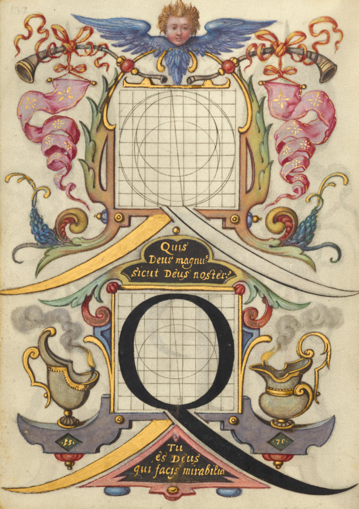 Guide for Constructing the Letter Q; Joris Hoefnagel (Flemish / Hungarian, 1542 - 1600); Vienna, Austria; about 1591–1596; Watercolors, gold and silver paint, and ink on parchment; Leaf: 16.6 × 12.4 cm (6 9/16 × 4 7/8 in.); Ms. 20 (86.MV.527), fol. 137v; The J. Paul Getty Museum, Los Angeles, Ms. 20, fol. 137v; Rights Statement: No Copyright - United States