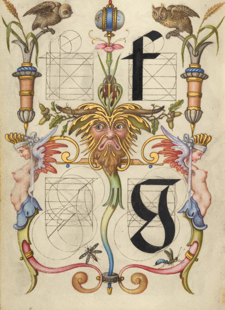 Guide for Constructing the Letters f and g; Joris Hoefnagel (Flemish / Hungarian, 1542 - 1600); about 1591–1596; Watercolors, gold and silver paint, and ink on parchment; Leaf: 16.6 × 12.4 cm (6 9/16 × 4 7/8 in.); Ms. 20 (86.MV.527), fol. 143v; Rights Statement: No Copyright - United States