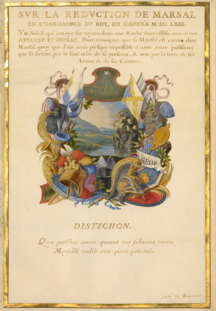 Emblem for Louis XIV (fol. 3); Jacques Bailly (French, 1634 - 1679), and Abbé Amable de Bourzeis (French, 1606 - 1672), and Abbé Jacques de Cassagne (French, 1635 - 1679), and Charles Perrault (French, 1628 - 1703), and possibly Nicolas Jarry (French, about 1610/1615 - about 1666 or 1674); about 1663–1668; Gouache and gold on parchment; Leaf: 37.1 × 25.6 cm (14 5/8 × 10 1/16 in.); Ms. 11 (8) (85.MS.118); Rights Statement: No Copyright - United States