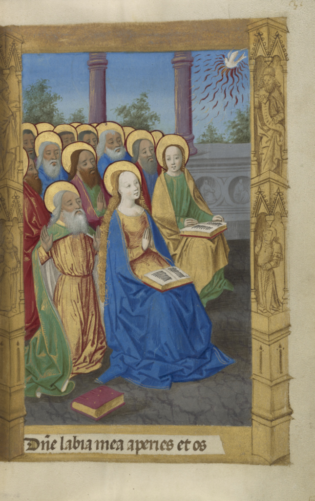 Pentecost; Master of Guillaume Lambert (French, active about 1475 - 1485); Lyon, France; 1478; Tempera colors, gold paint, and iron gall ink on parchment bound between pasteboard covered with brown jansenist morocco; Leaf: 14.6 × 9.8 cm (5 3/4 × 3 7/8 in.); Ms. 10 (85.ML.80), fol. 31; The J. Paul Getty Museum, Los Angeles, Ms. 10, fol. 31; Rights Statement: No Copyright - United States
