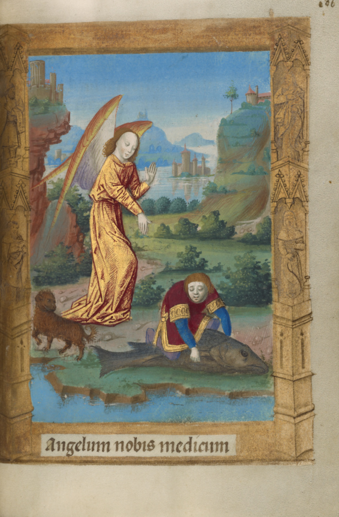 Tobias and the Angel; Master of Guillaume Lambert (French, active about 1475 - 1485); Lyon, France; 1478; Tempera colors, gold paint, and iron gall ink on parchment bound between pasteboard covered with brown jansenist morocco; Leaf: 14.6 × 9.8 cm (5 3/4 × 3 7/8 in.); Ms. 10 (85.ML.80), fol. 186; The J. Paul Getty Museum, Los Angeles, Ms. 10, fol. 186; Rights Statement: No Copyright - United States