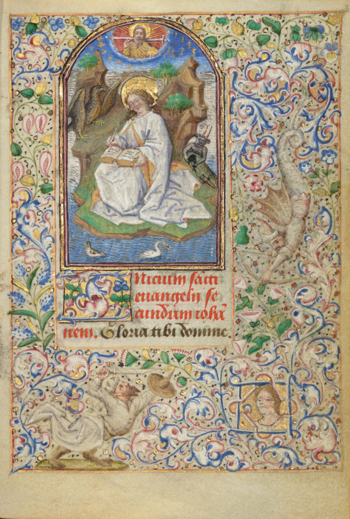 Saint John on Patmos; Dunois Master (French, active Paris, France until 1463); 1455; Tempera colors, gold paint, gold leaf, and ink on parchment; Leaf: 11.4 × 8.3 cm (4 1/2 × 3 1/4 in.); Ms. 7 (85.ML.27), fol. 3; Partial gift of Gerald F. Borrmann; Rights Statement: No Copyright - United States