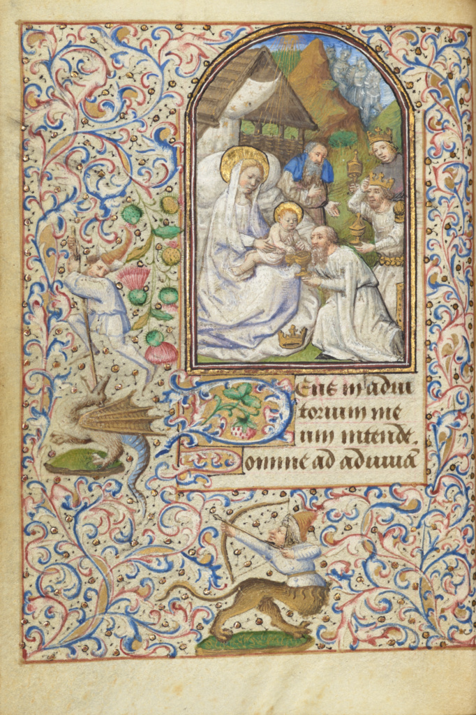 The Adoration of the Magi; Dunois Master (French, active Paris, France until 1463); Paris, France; 1455; Tempera colors, gold paint, gold leaf, and ink on parchment; Leaf: 11.4 × 8.3 cm (4 1/2 × 3 1/4 in.); Ms. 7 (85.ML.27), fol. 18v; The J. Paul Getty Museum, Los Angeles, Partial gift of Gerald F. Borrmann, Ms. 7, fol. 18v; Rights Statement: No Copyright - United States