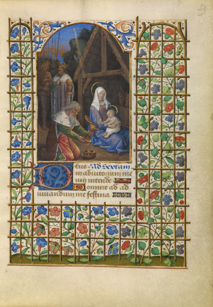 The Adoration of the Magi; Jean Bourdichon (French, 1457 - 1521); Tours, France; about 1480–1485; Tempera colors, gold, and ink on parchment; Leaf: 16.4 × 11.6 cm (6 7/16 × 4 9/16 in.); Ms. 6 (84.ML.746), fol. 59; The J. Paul Getty Museum, Los Angeles, Ms. 6, fol. 59; Rights Statement: No Copyright - United States