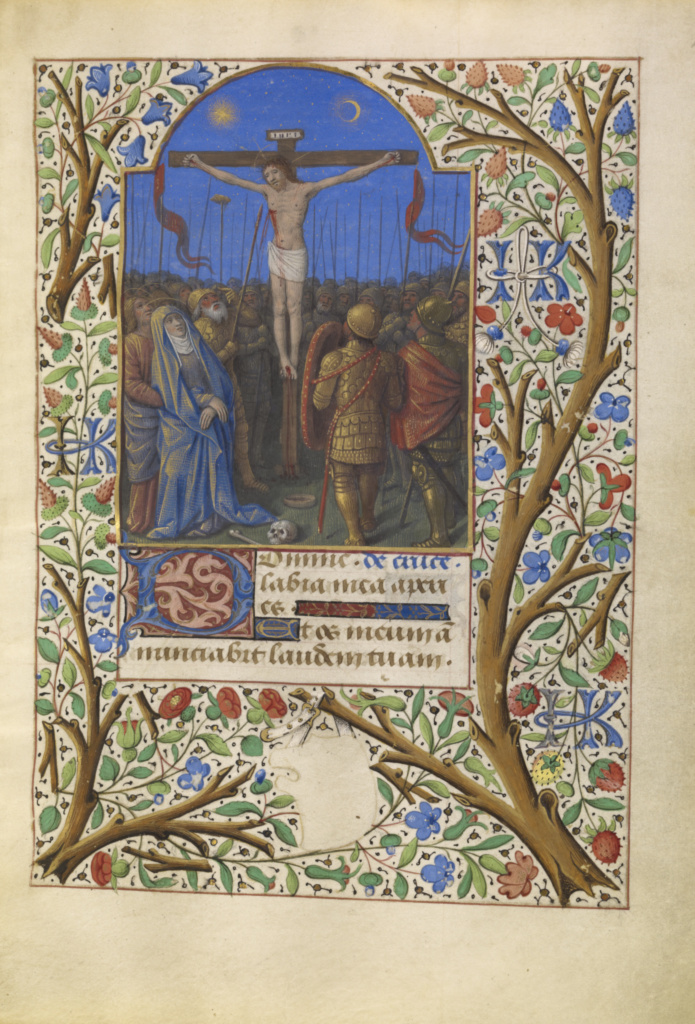 The Crucifixion; Jean Bourdichon (French, 1457 - 1521); about 1480–1485; Tempera colors, gold, and ink on parchment; Leaf: 16.4 × 11.6 cm (6 7/16 × 4 9/16 in.); Ms. 6 (84.ML.746), fol. 77; Rights Statement: No Copyright - United States