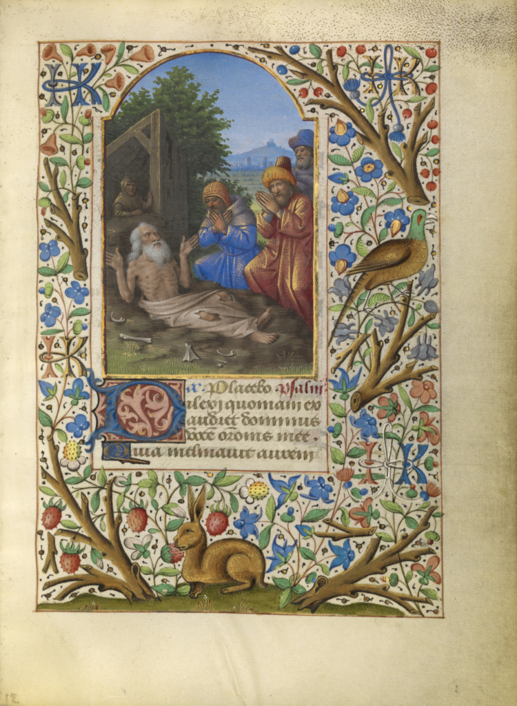 Job on the Dung Heap; Jean Bourdichon (French, 1457 - 1521); about 1480–1485; Tempera colors, gold, and ink on parchment; Leaf: 16.4 × 11.6 cm (6 7/16 × 4 9/16 in.); Ms. 6 (84.ML.746), fol. 96; Rights Statement: No Copyright - United States