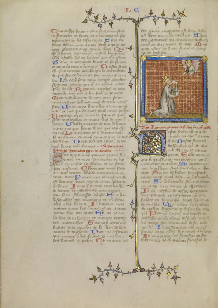 David Pointing to His Eye; Master of Jean de Mandeville (French, active 1350 - 1370); Paris, France; about 1360–1370; Tempera colors, gold, and ink on parchment; Leaf: 34.9 × 26 cm (13 3/4 × 10 1/4 in.); Ms. 1, v1 (84.MA.40.1), fol. 277v; The J. Paul Getty Museum, Los Angeles, Ms. 1, v1, fol. 277v; Rights Statement: No Copyright - United States