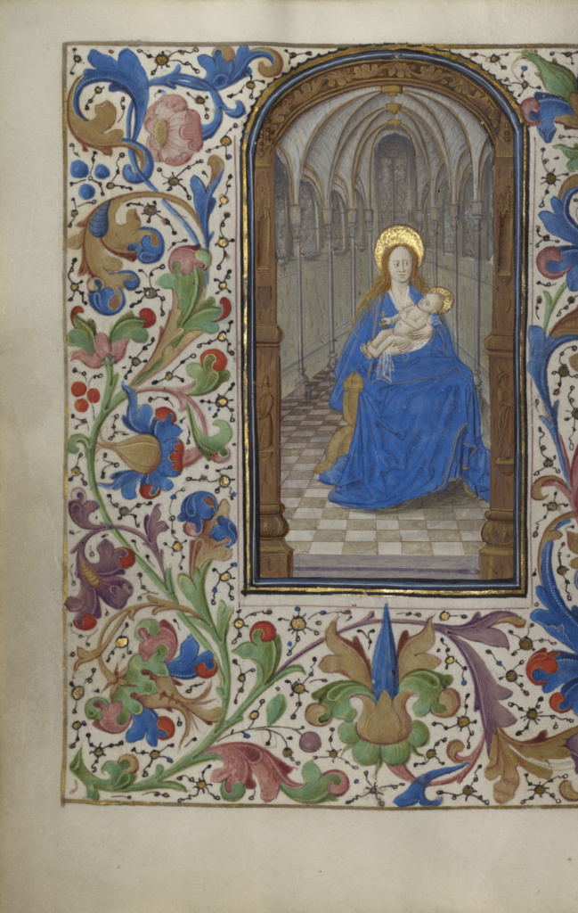 The Virgin and Child Enthroned within a Church; Unknown; Ghent (probably), Belgium; about 1450–1455; Tempera colors, gold leaf, and ink on parchment; Leaf: 19.4 × 14 cm (7 5/8 × 5 1/2 in.); Ms. 2 (84.ML.67), fol. 243v; The J. Paul Getty Museum, Los Angeles, Ms. 2, fol. 243v; Rights Statement: No Copyright - United States