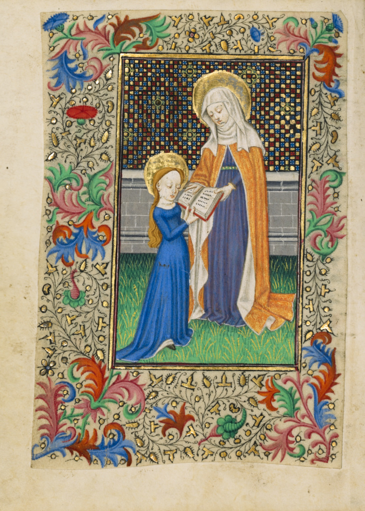 Saint Anne Teaching the Virgin to Read; Master of Sir John Fastolf (French, active before about 1420 - about 1450); about 1430–1440; Tempera colors, gold leaf, and ink on parchment; Leaf: 12.1 × 9.2 cm (4 3/4 × 3 5/8 in.); Ms. 5 (84.ML.723), fol. 45v; Rights Statement: No Copyright - United States