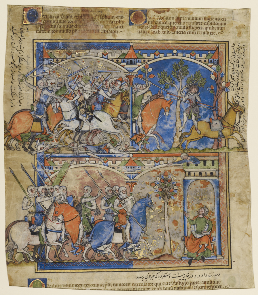Scenes from the Life of Absalom; Unknown; Northern France, France; about 1250; Tempera colors and gold leaf on parchment; Leaf: 32.5 × 29 cm (12 13/16 × 11 7/16 in.); Ms. Ludwig I 6 (83.MA.55), verso; The J. Paul Getty Museum, Los Angeles, Ms. Ludwig I 6, verso; Rights Statement: No Copyright - United States