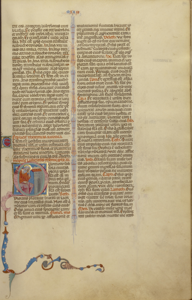Initial Q: Jeremiah Lamenting Jerusalem; Unknown; Bologna, Emilia-Romagna, Italy; about 1280–1290; Tempera colors, gold leaf, and ink on parchment; Leaf: 37.5 × 24.8 cm (14 3/4 × 9 3/4 in.); Ms. Ludwig I 11 (83.MA.60), fol. 351; The J. Paul Getty Museum, Los Angeles, Ms. Ludwig I 11, fol. 351; Rights Statement: No Copyright - United States