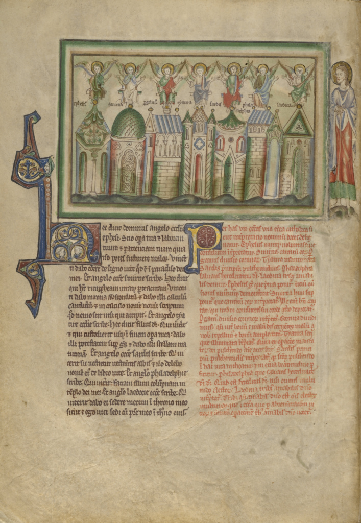 The Seven Churches of Asia Minor; Unknown; London (probably), England; about 1255–1260; Tempera colors, gold leaf, colored washes, pen and ink on parchment; Leaf: 31.9 × 22.5 cm (12 9/16 × 8 7/8 in.); Ms. Ludwig III 1 (83.MC.72), fol. 2v; The J. Paul Getty Museum, Los Angeles, Ms. Ludwig III 1, fol. 2v; Rights Statement: No Copyright - United States