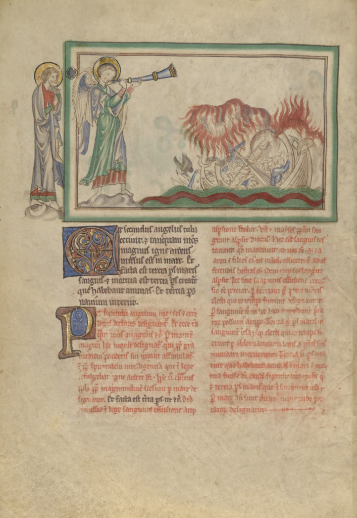 The Second Trumpet: The Burning Mountain in the Sea; Unknown; London (probably), England; about 1255–1260; Tempera colors, gold leaf, colored washes, pen and ink on parchment; Leaf: 31.9 × 22.5 cm (12 9/16 × 8 7/8 in.); Ms. Ludwig III 1 (83.MC.72), fol. 11v; The J. Paul Getty Museum, Los Angeles, Ms. Ludwig III 1, fol. 11v; Rights Statement: No Copyright - United States