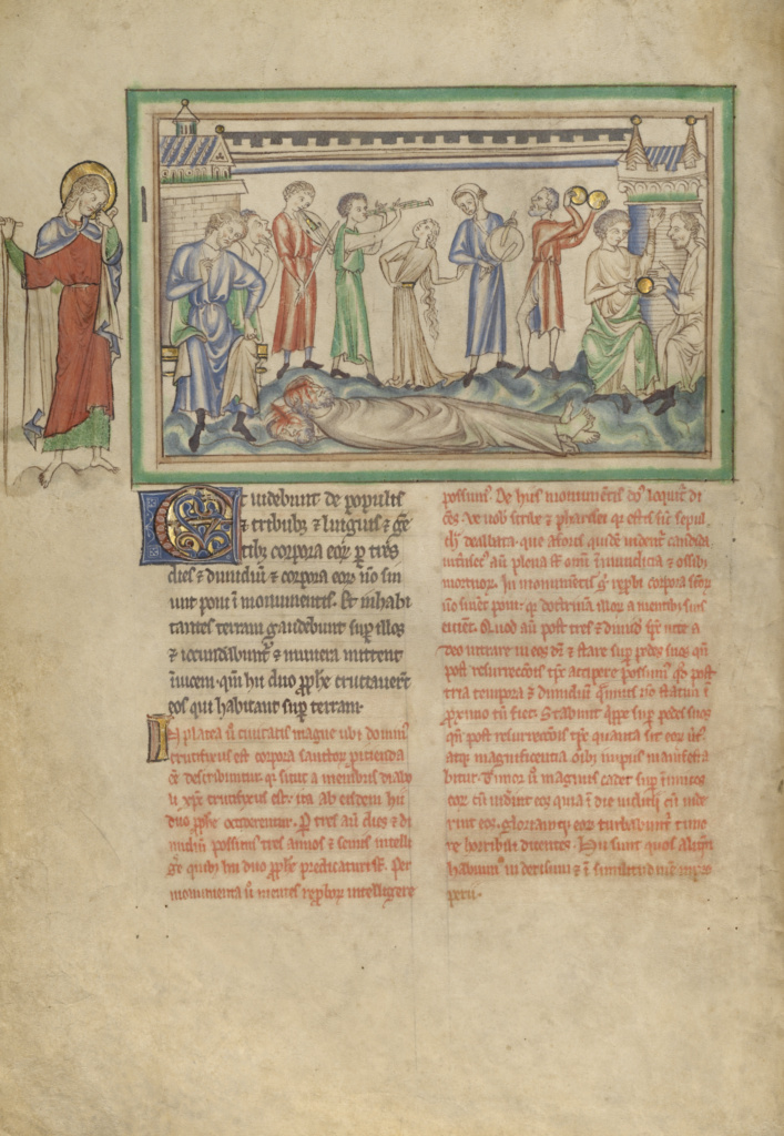 The Unburied Bodies of the Two Witnesses and the Rejoicing People; Unknown; London (probably), England; about 1255–1260; Tempera colors, gold leaf, colored washes, pen and ink on parchment; Leaf: 31.9 × 22.5 cm (12 9/16 × 8 7/8 in.); Ms. Ludwig III 1 (83.MC.72), fol. 17v; The J. Paul Getty Museum, Los Angeles, Ms. Ludwig III 1, fol. 17v; Rights Statement: No Copyright - United States