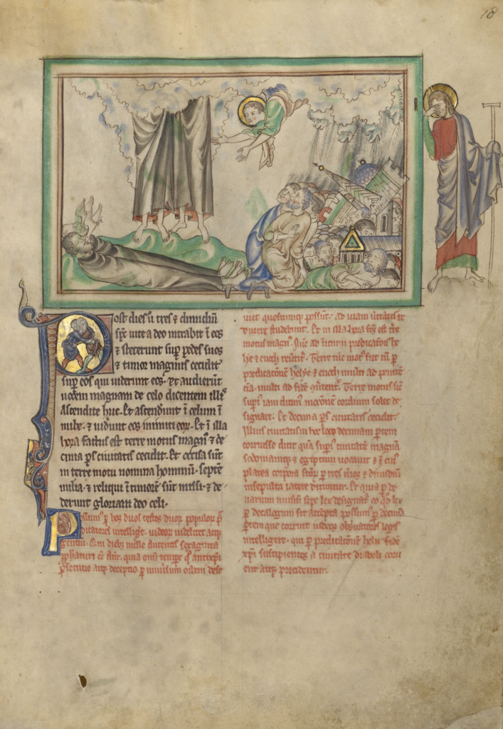 The Removal of the Two Witnesses and the Destruction of the City; Unknown; about 1255–1260; Tempera colors, gold leaf, colored washes, pen and ink on parchment; Leaf: 31.9 × 22.5 cm (12 9/16 × 8 7/8 in.); Ms. Ludwig III 1 (83.MC.72), fol. 18; Rights Statement: No Copyright - United States