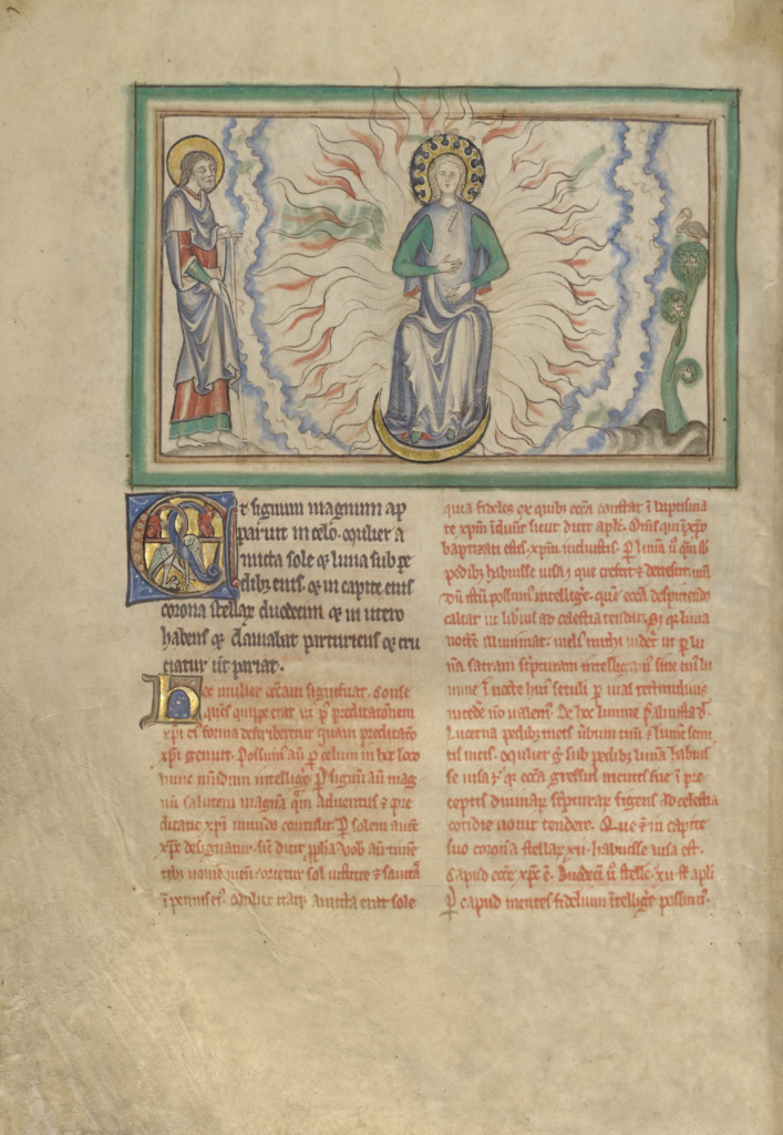 The Woman Clothed in the Sun; Unknown; London (probably), England; about 1255–1260; Tempera colors, gold leaf, colored washes, pen and ink; Leaf: 31.9 × 22.5 cm (12 9/16 × 8 7/8 in.); Ms. Ludwig III 1 (83.MC.72), fol. 19v; The J. Paul Getty Museum, Los Angeles, Ms. Ludwig III 1, fol. 19v; Rights Statement: No Copyright - United States