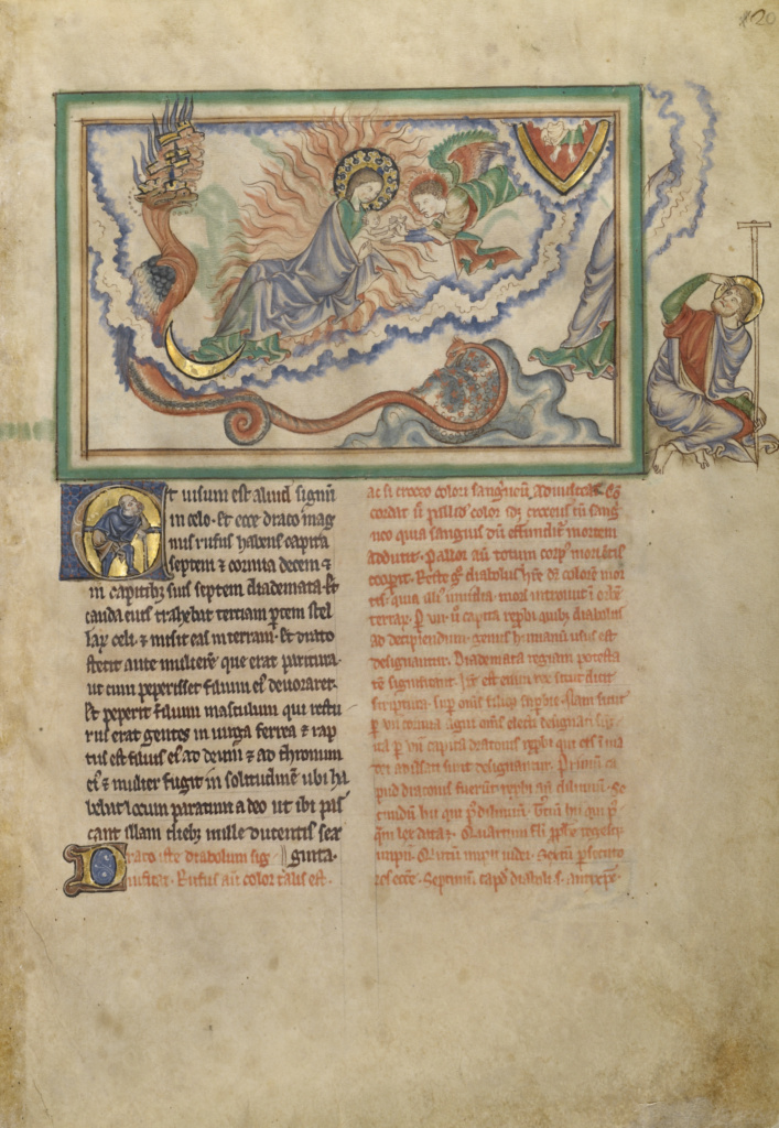 Getty Apocalypse; Unknown, Commentary by Berengaudus; London (probably), England; about 1255–1260; Tempera colors, gold leaf, colored washes, and ink on parchment bound between pasteboard covered with red morocco; Closed: 33 × 24.1 × 2.5 cm (13 × 9 1/2 × 1 in.); Ms. Ludwig III 1 (83.MC.72); The J. Paul Getty Museum, Los Angeles, Ms. Ludwig III 1; Rights Statement: No Copyright - United States
