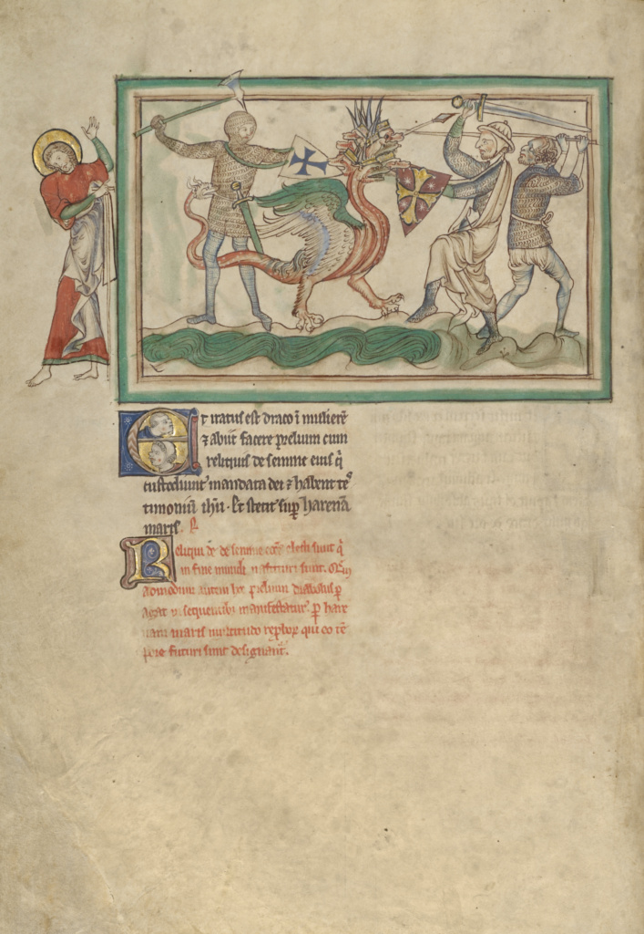 The Dragon Fighting the Just; Unknown; London (probably), England; about 1255–1260; Tempera colors, gold leaf, colored washes, pen and ink on parchment; Leaf: 31.9 × 22.5 cm (12 9/16 × 8 7/8 in.); Ms. Ludwig III 1 (83.MC.72), fol. 22v; The J. Paul Getty Museum, Los Angeles, Ms. Ludwig III 1, fol. 22v; Rights Statement: No Copyright - United States